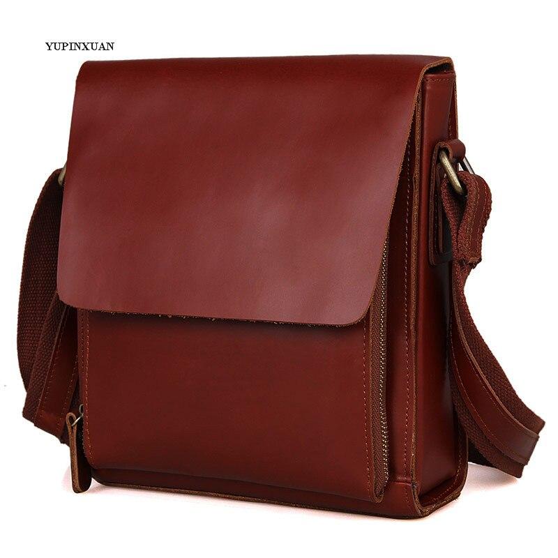 YUPINXUAN Mens Real Leather Messenger Bags Vintage Cowhide Crossbody Bag Retro Shoulder Bag Genuine Leather Men Bags as Gifts