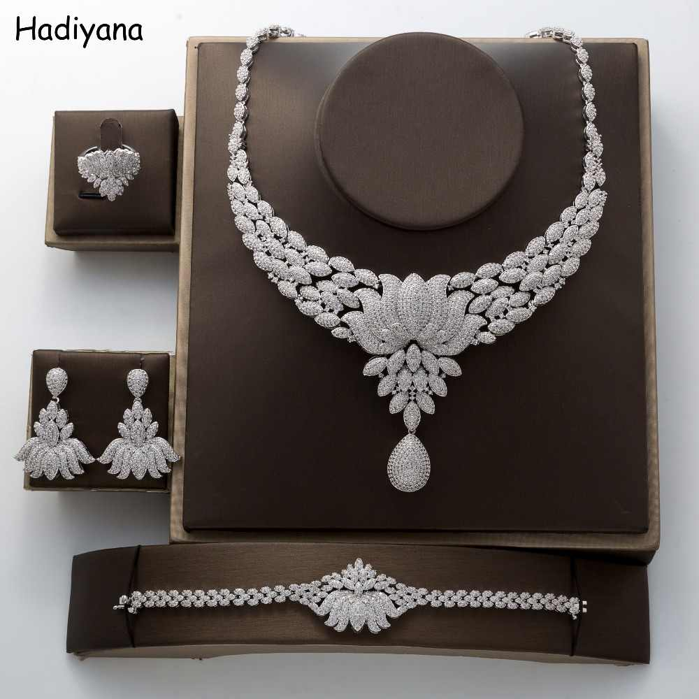 Wedding Jewelry Sets Luxury Shiny Water Drops Flowers Cubic Zircon Design New Fashion For Women  TZ8073  Haar Sieraden Bruiloft