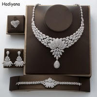 Hadiyana luxury shiny water drops flowers cubic zircon micro inlay 4 pieces necklace jewelry wedding bride big set female TZ8073