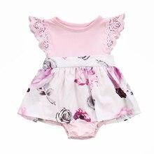 Семья сестра Цветочный комплект одежды для маленьких девочек кружевной Цветочный комбинезон и платье комплект одежды
