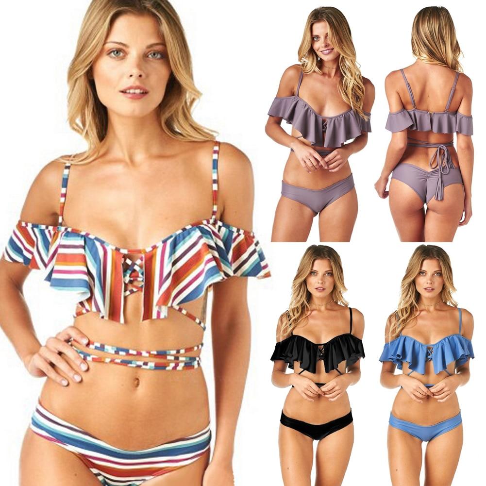 Bikini Women Swimsuit Tankini Sexy Push-up Summer Swimwear Strip Bandage Padded Bikini Set Size S M L twist push up peplum print tankini set