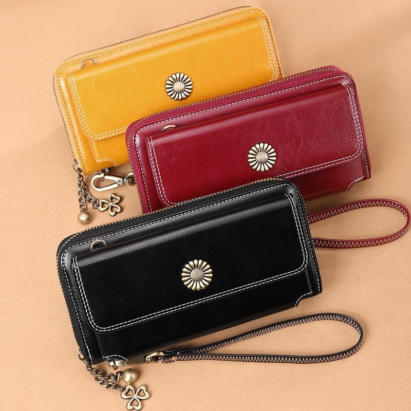 In Staat Dames Nieuwe Koreaanse Versie Van De Rits Portemonnee Lederen Lange Sectie Multi-card Positie Clutch Bag Multi-functie Grote Capaciteit
