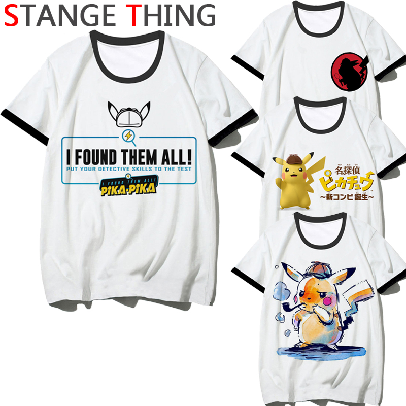 Newest <font><b>Detective</b></font> <font><b>Pikachu</b></font> Funny Print T Shirt Men/women Fashion Pokemon New T Shirt Hip Hop <font><b>Tshirt</b></font> Street Top Tees Male/female image