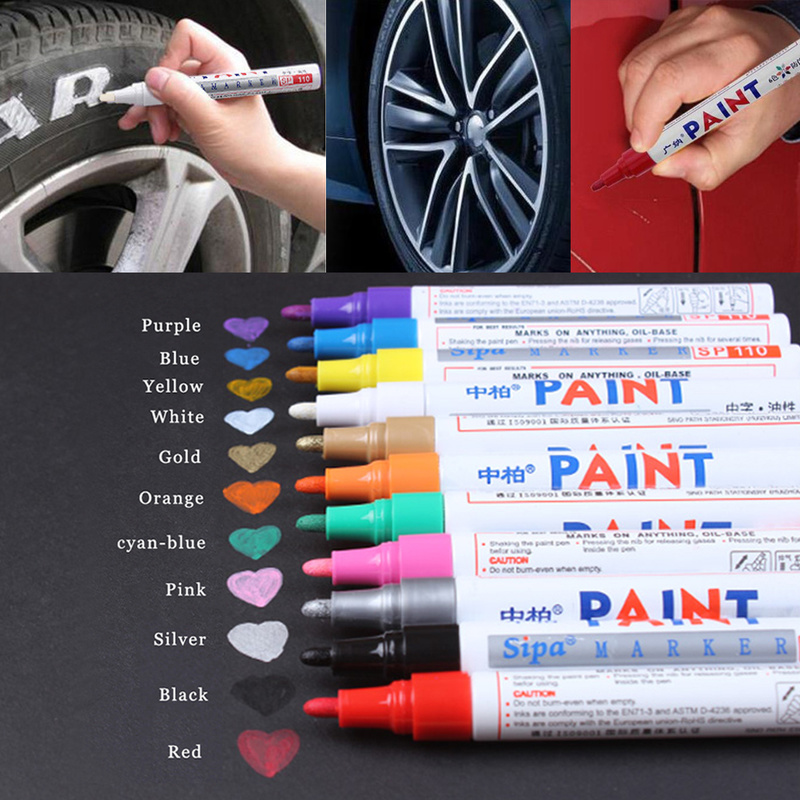 Colors Auto Zhongbai Sp110 Paint Pen Korea DIY Album Black Card Metal Pen Touch Up Tire Lacquer Permanent Oil Marker PenColors Auto Zhongbai Sp110 Paint Pen Korea DIY Album Black Card Metal Pen Touch Up Tire Lacquer Permanent Oil Marker Pen