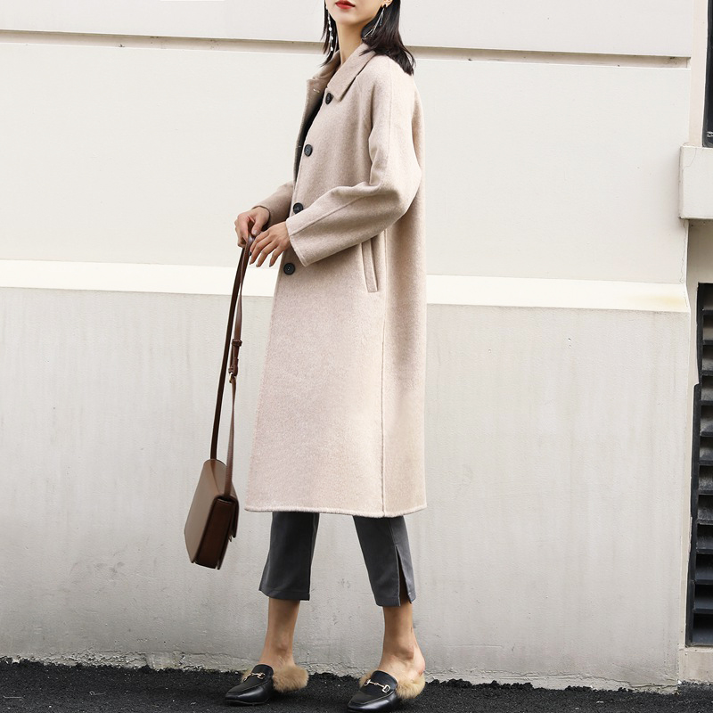 New double sided cashmere overcoat spring 2019 women wool coat 100% wool good quality solid winter long coats beige color jacket