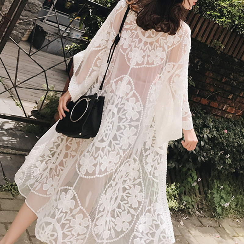 Women Long Beach Cover Up 2019 New Embroidery Pareo Flower Pattern Lace Cover Ups Female Sarong Swimwear Floral Swimsuit Office & School Supplies