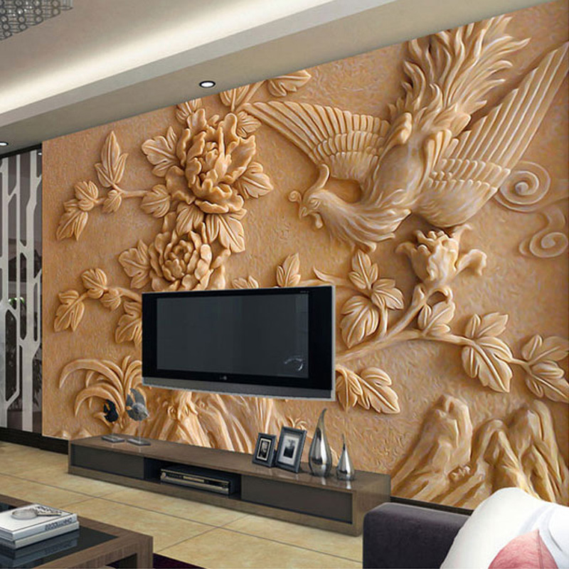 Custom wall mural paper chinese style living room tv background 3d stereoscopic relief phoenix peony wall murals wallpaper