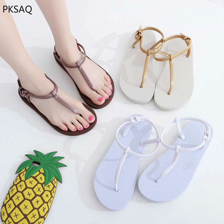 Women's Summer Roman Style Slippers Lady Fashionable Flat Casual Sandals Round Toe Flip Flops Beach Slippers B
