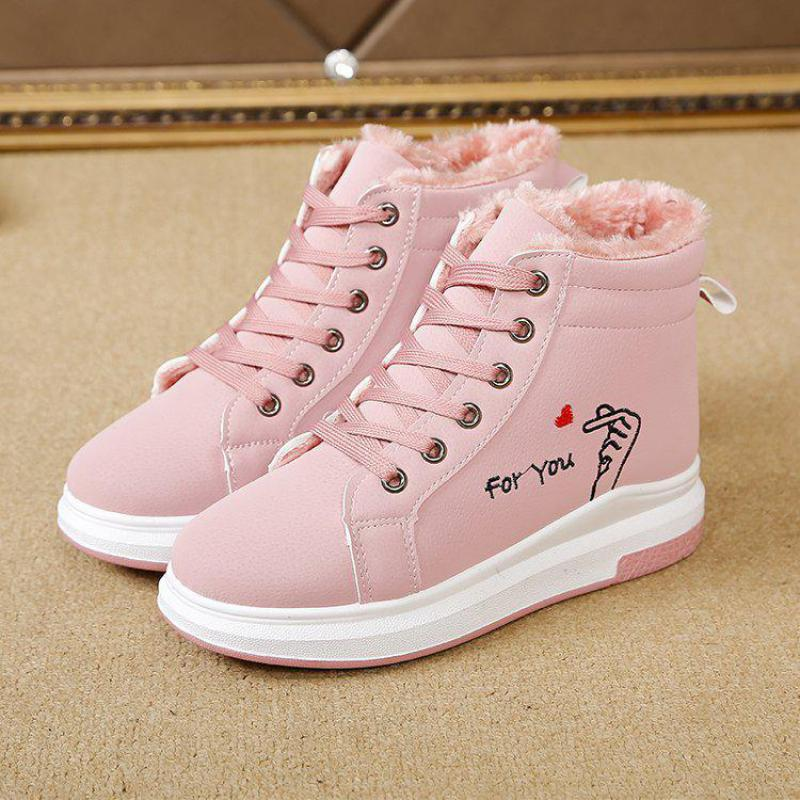 Leather Shoes Women Flat Bottomed Thickened Cotton 2018 New Winter <font><b>Snowball</b></font> Boots Shoes Woman11.1 image