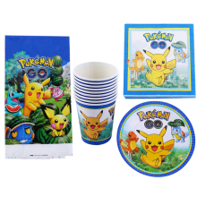 Baby Shower Kids Boys Favors Decorate Pikachu Cups Plates Pokemon Go Theme Napkins Happy Birthday Party Tablecloth 61pcs/lot