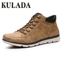 KULADA 2019 Men's Shoes Leather Spring&Autumn Men Boots Comfortable Nature Working Men Lace up Casual Ankle Boots