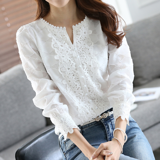 Women Chiffon Blouse Elegant Lace White Work Shirts Long Sleeve Solid Casual Tops Female Blusas Women Clothes WS4657T