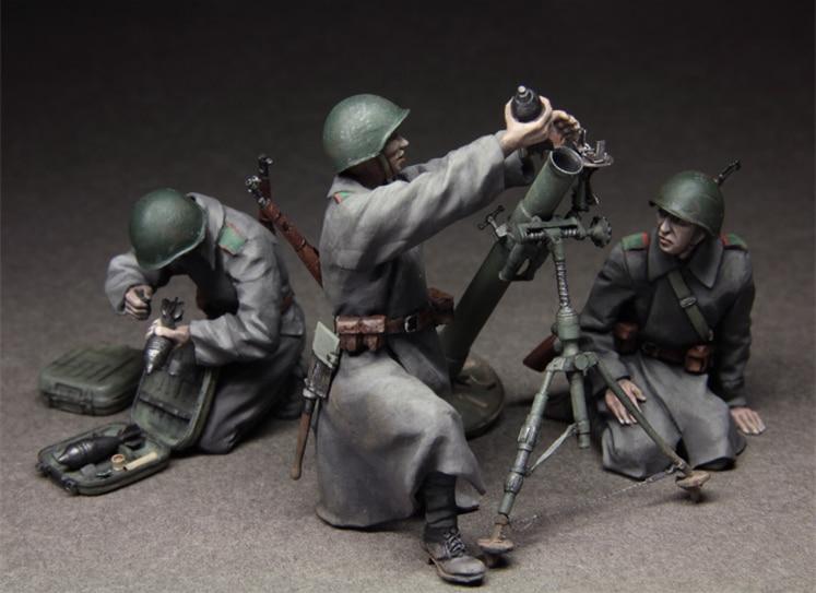 1/35 Resin Figure Model Kit Russian 82 Mm Mortar Team Unassembled Unpainted Not Include Mortar