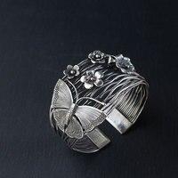 FNJ 925 серебряный браслет Бабочка Большой себе цветок новый регулируемый Размеры оригинальный S925 серебряные браслеты для Для женщин ювелирн