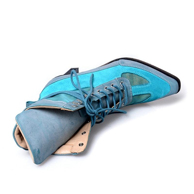 En blue De Bout Bottines À Conception Pointu Femmes Femme Mode Talons Chevalier Cuir Bloc Black Printemps Hauts Piste Bottes Lacets Véritable 5wwqRxp6