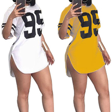 Street Style Number Printed Short Sleeved Mini Dresses Casual Plus Size Pullover Tshirt Dress Tops WS7225U