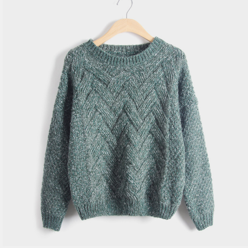 Winter O neck Women 39 s Sweater Jersey Woman Mohair Knitted Twisted Thick Warm Lady 39 s Pullover 2019 College Jumper Women Pink Gray in Pullovers from Women 39 s Clothing