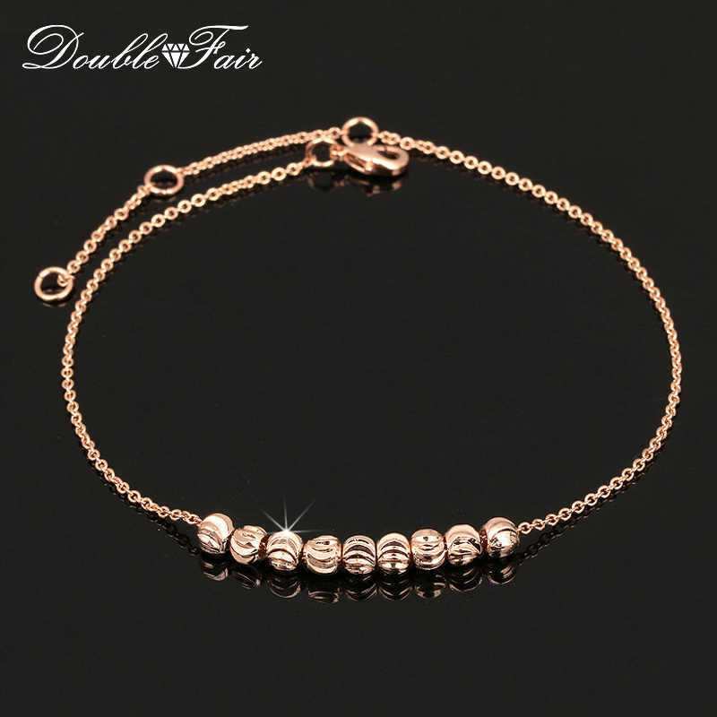 Double Fair Metal Beads Anklets Chain Rose Gold Color/Silver Tone Simple Style Foot Fashion Jewellery/Jewelry For Women DFA020