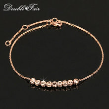 Double Fair Metal Beads Anklets Chain Rose Gold Color/Silver Tone Simple Style Foot Fashion Jewellery/Jewelry For Women DFA020(China)