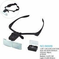 Büyüteç Giyen Tarzı Gözlük büyüteç 1.0X/1.5X/2.0X/2.5X/3.5X Büyüteç LED Başkanı Lambalar Takı Izle onarım Büyütücü Gözlük