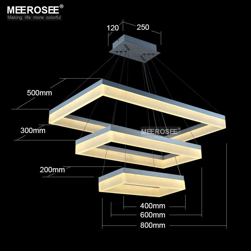 Newest Design LED Chandelier Light LED White Rectangle Lamp Acrylic ...