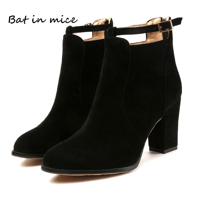 women shoes winter autumn casual women high heels pumps warm Ankle boots women botas shoes Mujer zapatos Plus size 35-42 W205 цена 2017