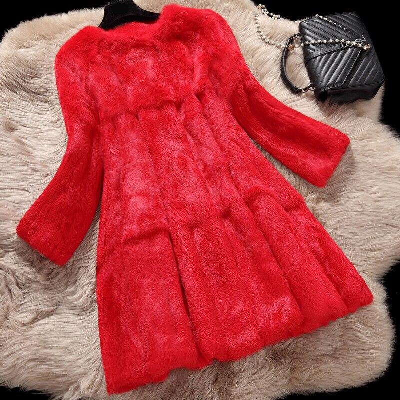 Natural rabbit fur coats women autumn winter pocket slim medium long full pelt real fur coat outerwear women's jacket plus size