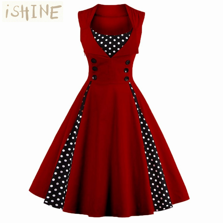 Buy Cheap Vintage Women Dress 50s 60s Sleeveless 1950s vestido de festa 2017 Knee-Length Women's Party Dresses