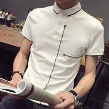 New Sale Short Sleeve POLO Shirt Casual Lapel Male Polo Shirt Youth Slim Printing Shirt Men 's Clothing Preppy Style Clothes