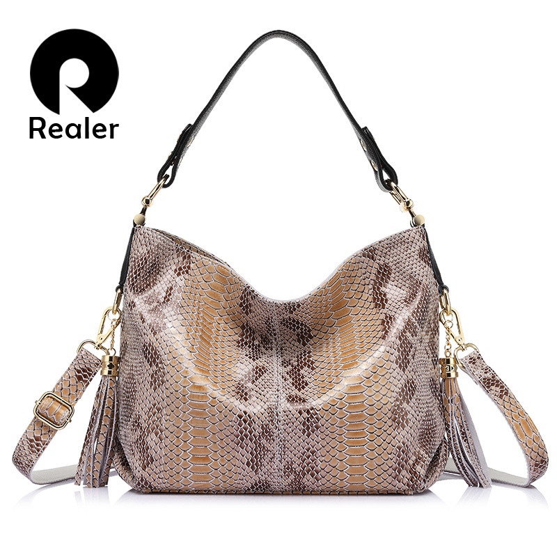 REALER brand new women genuine leather handbag fashion large capacity shoulder bags female serpentine pattern leather