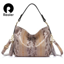 REALER brand new women genuine leather handbag fashion large