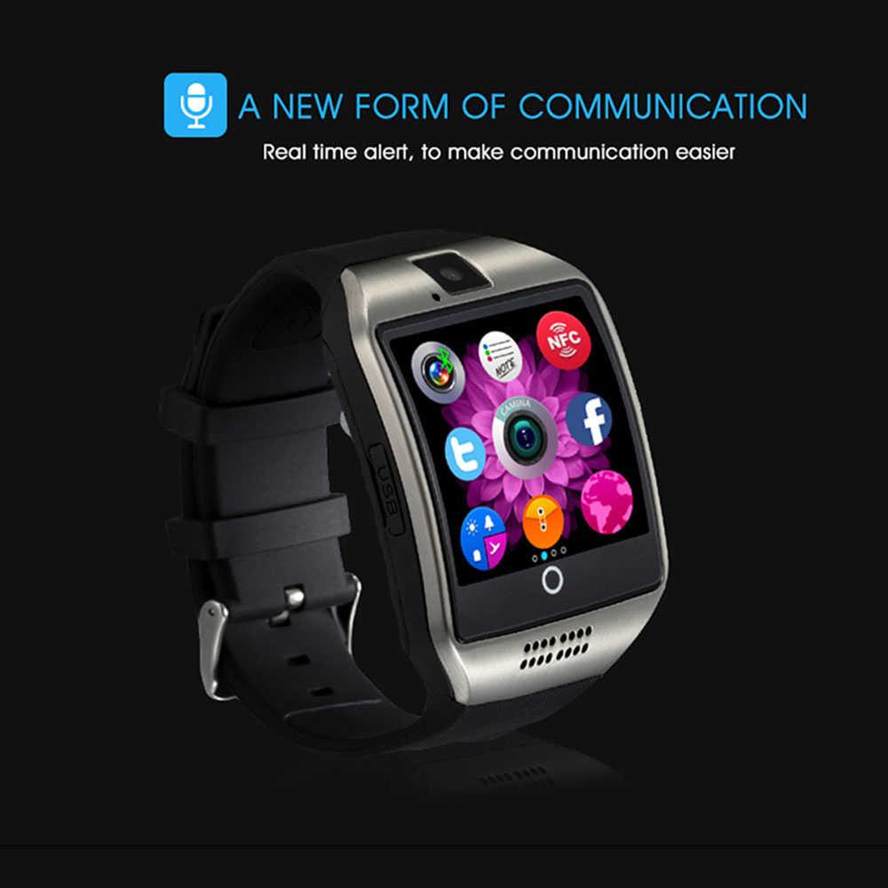 ブルートゥーススマートウォッチ ip68 Q18 フィットネストラッカータッチスクリーンサポートアプリのダウンロード TF Sim カードカメラダイヤル/コール android 電話