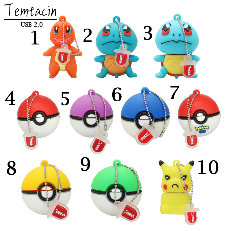 USB Flash Drive פוקימון כדור PenDrive Cartoon Pikachu מתנה עט כונן 4GB 8GB 16GB 32GB קריקטורה שדון כדור USB כונן USB Flash Drive
