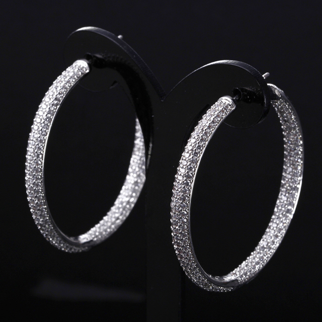 HY Big Round Earrings For Women AAA CZ  Jewelry Platinum Plated Simple Large Hoop Earrings Valentine's Day Gift
