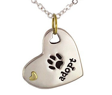 Best-selling NEW Adopt Paw Heart NECKLACE low price Dog Cat rescue tag cheap resceu pet paw print tag wholesale adopt dog tag