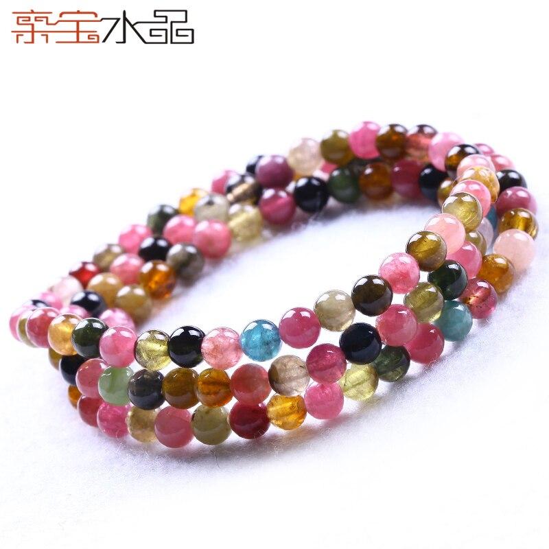 Cristal multi-couche tourmaline bracelet femelle naturel collier accessoires collier court conception