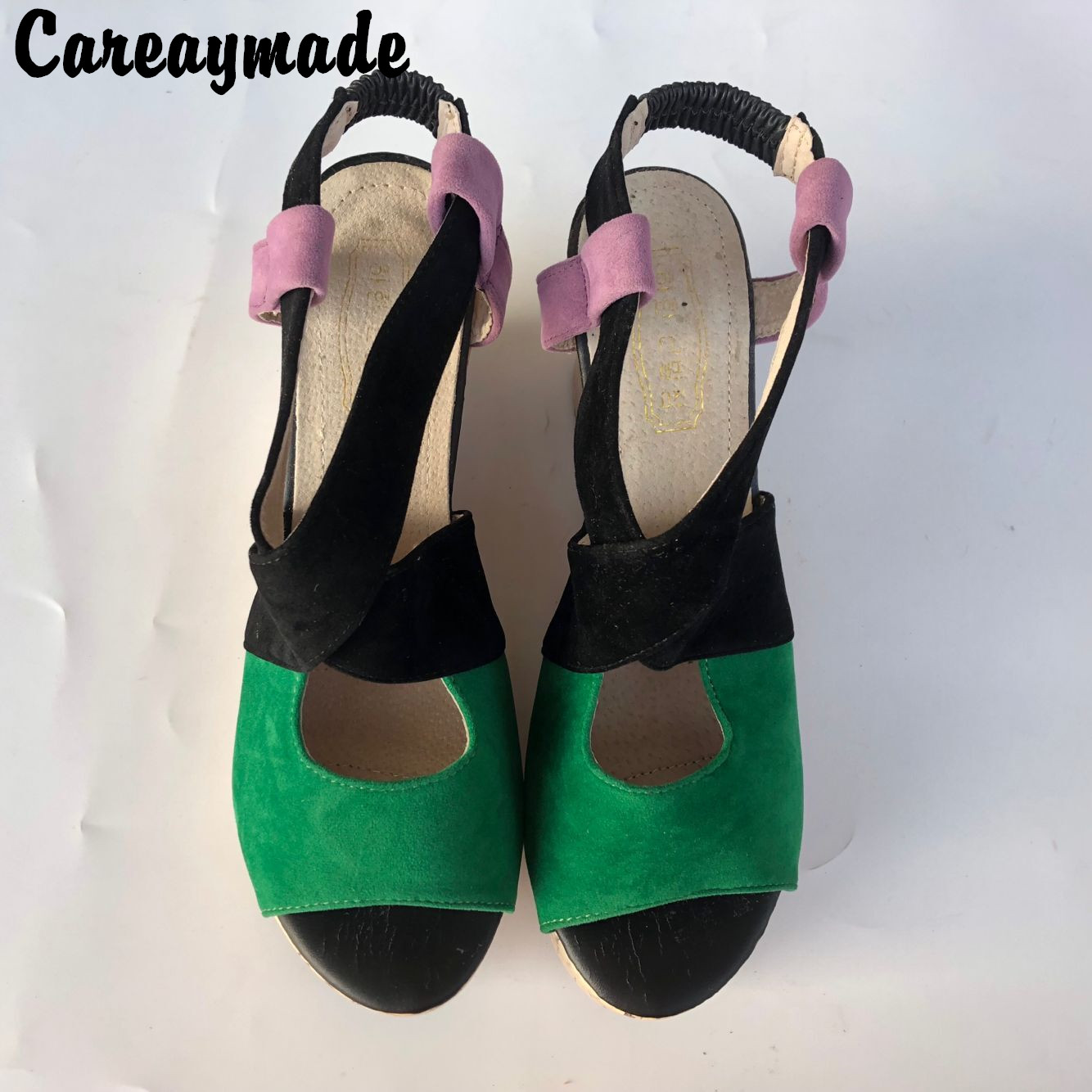 Careaymade New Bohemia style Large size women 39 s shoes slope with high heeled Fish mouth thick bottom sandals Size 34 43 in High Heels from Shoes