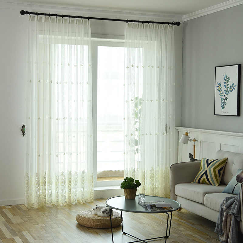 White Embroidery Home Textile Screens Tulle For Living Room Luxury Panels Bedroom Curtains With Yarn Bay Window Gauze MY001-40