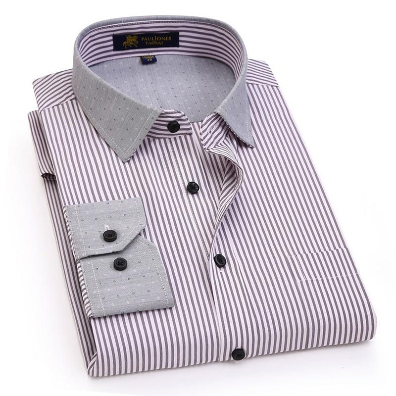 2018 Neue Design Grau Streifen Business Casual Männer Shirts Kontrast Farbe Mode Kragen Marke Qualität Langarm Männer Kleid Shirts Angenehm Bis Zum Gaumen