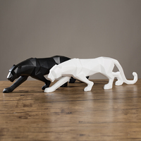 Modern Black White Panther Scuplture Geometric Resin Leopard Statue Wildlife Decor Gift Craft Ornament Accessories Furnishing