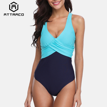 Attraco Women One Piece Swimwear Colorblock Swimsuit From Cross Sexy Bikini Summer Beachwear Monokini Bathing Suit