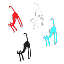 Cute Cartoon Funny Cat Metal Brooch for Women White/Black/Red Enamel Pin Badge Icons Backpack Pins and Brooches Men Kids Gifts
