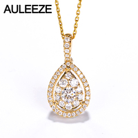 AULEEZE Classic Water Drop Design 0.6cttw Real Diamond Pendant Necklace 18K Solid Yellow Gold Natural Diamond Pendant For Women