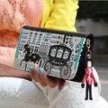 Nova moda PU couro mulheres Carteira de impressão criativa Carteira mudança bolsa carteiras Carteira Feminina