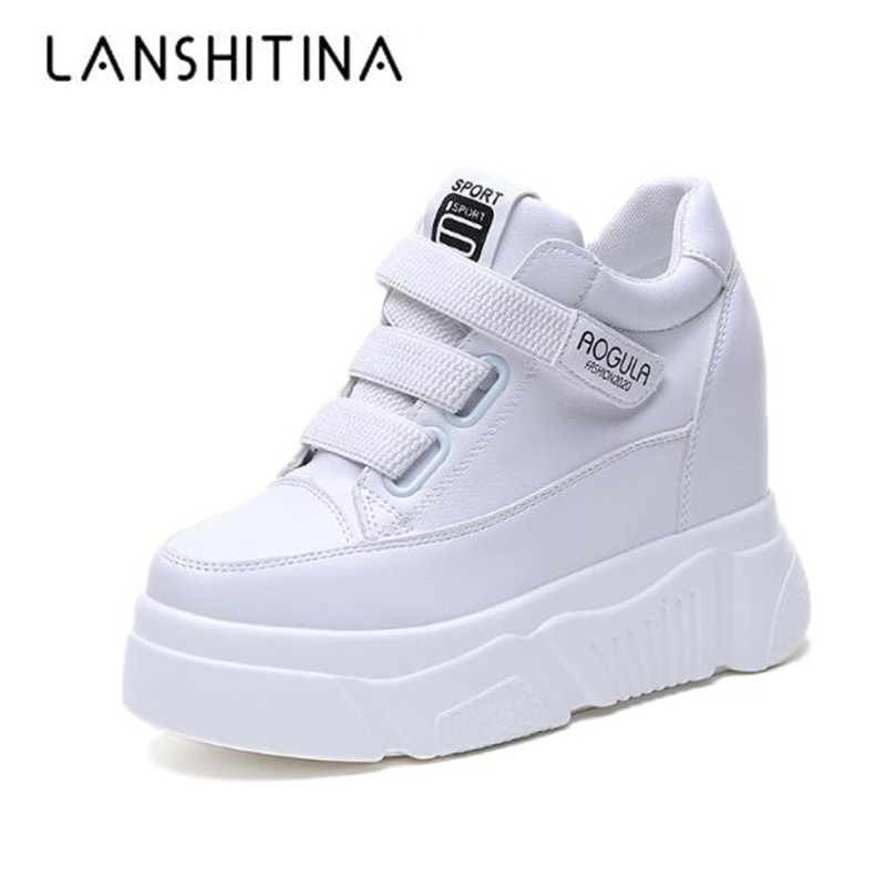 Women Sneakers Sping Leather Platform White Shoes 11CM Heels Autumn Casual Wedges Breathable Woman Height Increasing