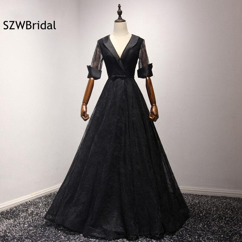 Fashion V Neck Half sleeve Black Evening gowns Plus size Illusion Lace Evening dress 2019 Vestido de festa longo prom dresses