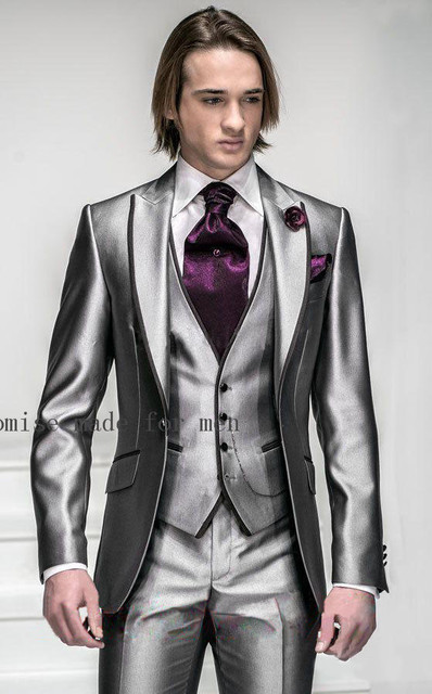 166305b6dccd4 2017 Korea-Satin Bright Silver With Black Brim Man Groom Tuxedos Wedding  Suits Prom Formal Suit (Jacket+Pants+Vest+Tie)