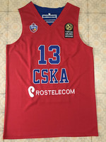 #13 SERGIO RODRIGUEZ CSKA MOSCOW red basketball jersey Embroidery Stitched Custom any Number and name