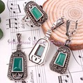 FREE SHIPPING FASHION STYLE PRETTY HAND MOSAIC RECTANGLE AGATE VINTAGE TIBETAN SILVER EARRING PENDANT RING 1 SET