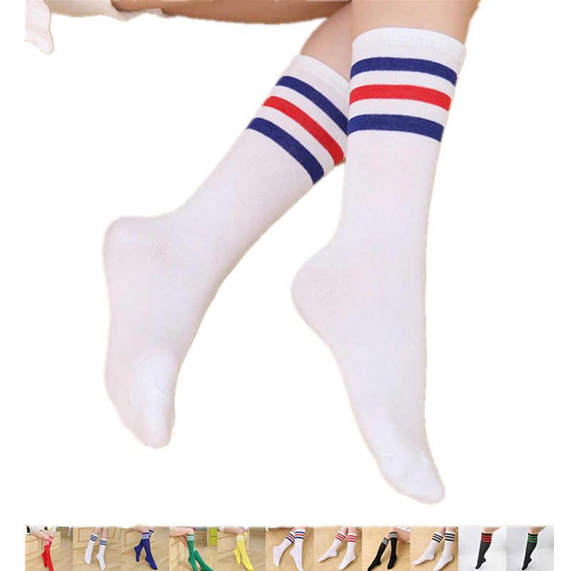 fde827bf72c Fashion Girls Student Over Knee High Scoks 2018 Sexy Rainbow Stripe Thigh  High Socks Long Knee